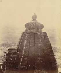 Close view of top of shikara of the Mala De Jain Temple, Gyaraspur, Bhopal State